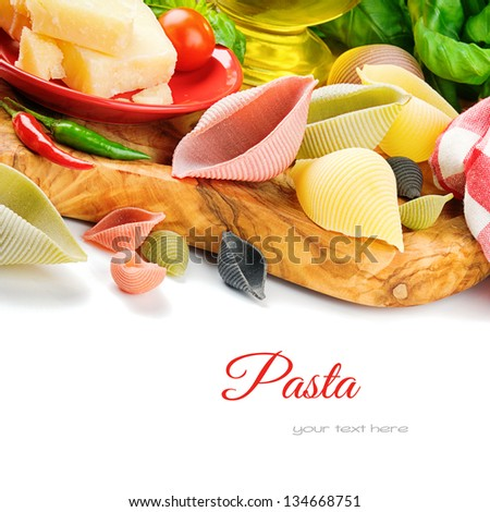 Fresh ingredients for Italian pasta with parmesan - stock photo