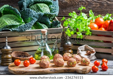 Fresh ingredients for meatballs - stock photo