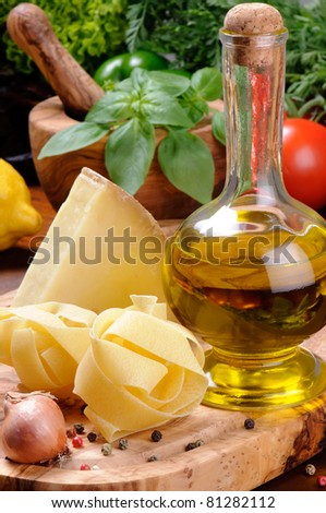 Fresh ingredients for traditional Italian cuisine - stock photo
