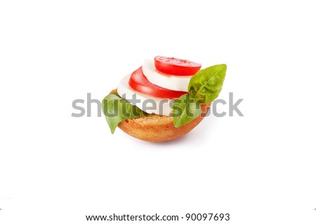 Fresh italian canape isolated over white background - stock photo