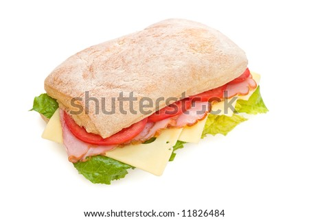Fresh italian ciabatta sandwich with lettuce, ham, cheese and tomatoes isolated on white