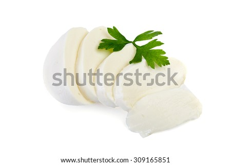 fresh italian mozzarella on white background - stock photo