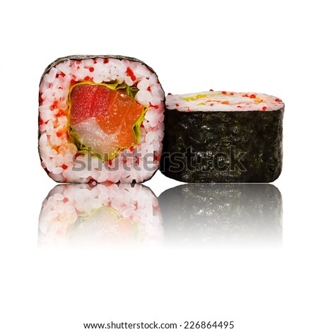 Fresh japanese sushi rolls on a white background  - stock photo