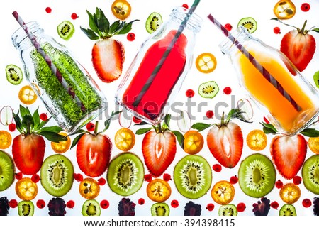 Fresh juice and smoothies with berries on white background. Transparent pattern. - stock photo