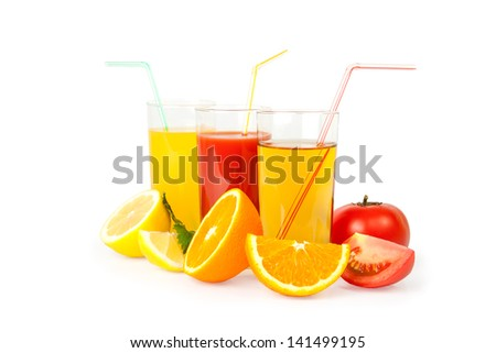 Fresh juice from fruit photographed on the isolated white background