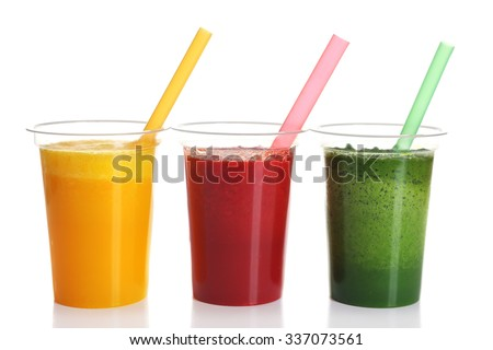 Fresh juice mix fruit, healthy drinks isolated on white - stock photo