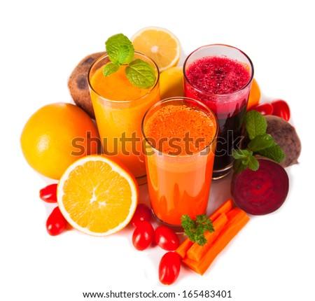 Fresh juice, mix fruits and vegetable  - stock photo