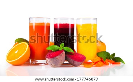 Fresh juice, mix fruits and vegetable isolated on white background - stock photo