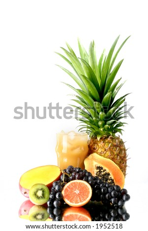 Fresh juice with fruit - stock photo