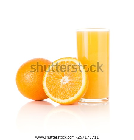 Fresh juice with fruits orange isolated on white background - stock photo
