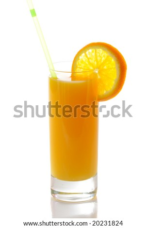 Fresh juice with slice of orange and straw