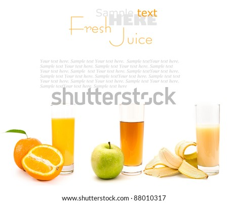 Fresh juices and fruits over a white background - stock photo