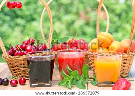 Fresh juices - healthy beverages - stock photo