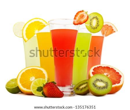 Fresh juices isolated on white - stock photo