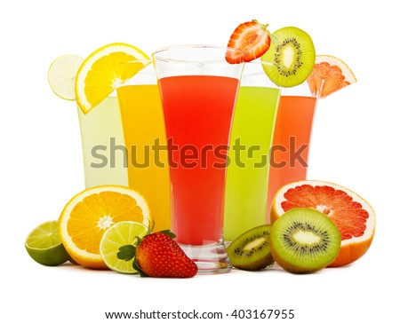 Fresh juices isolated on white - stock photo