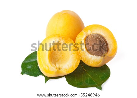 fresh juicy apricots on white background - stock photo