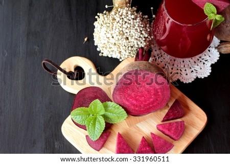 Fresh juicy beetroot and juice - stock photo