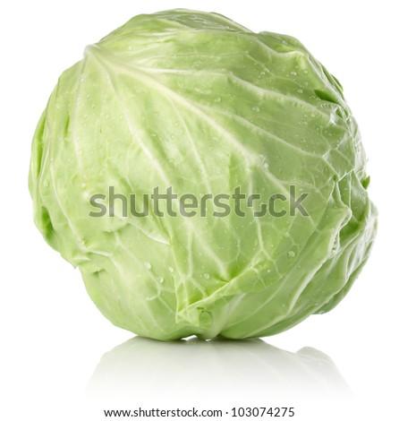fresh juicy cabbage isolated on white background - stock photo