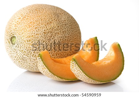 Fresh, juicy cantaloupe with slices ready to eat - stock photo