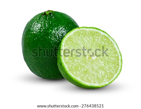 Fresh  Juicy Limes  Sliced isolated on white background - stock photo