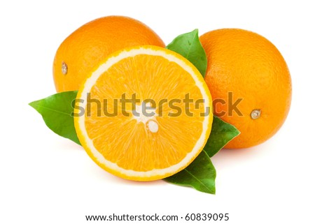 Fresh juicy oranges with green leafs. Isolated on white background - stock photo