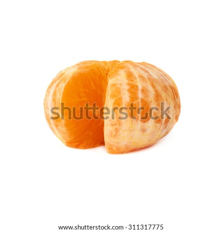 Fresh juicy peeled cleaned tangerine ripe fruit isolated over the white background - stock photo