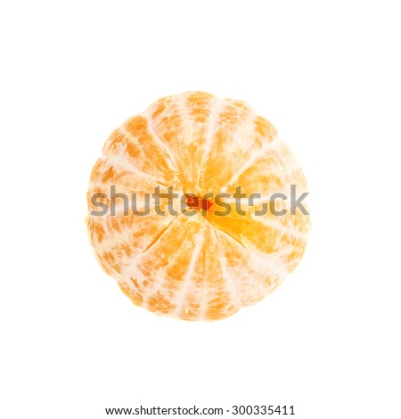 Fresh juicy peeled cleaned tangerine ripe fruit isolated over the white background, top view - stock photo