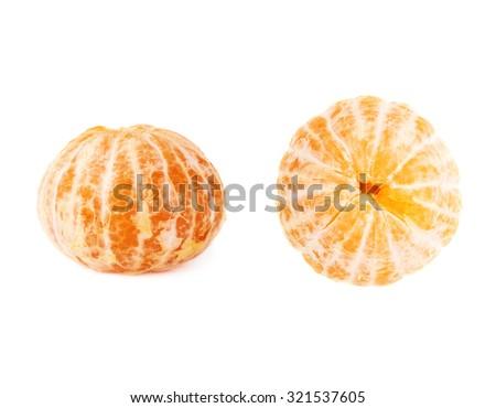 Fresh juicy peeled cleaned tangerines ripe fruits isolated over the white background - stock photo
