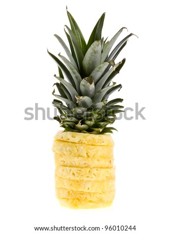 Fresh juicy pineapple. Isolated on white background