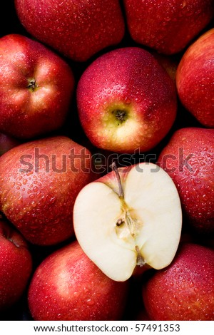 Fresh & juicy red apples - stock photo