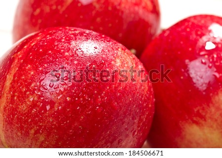 Fresh juicy red apples, close up  - stock photo