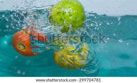 Fresh Juicy ripe lemon and tomato in the water effect. - stock photo
