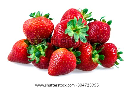 Fresh Juicy Strawberry Isolated on white background. - stock photo