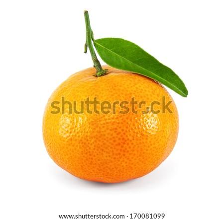 Fresh juicy tangerine on white  background - stock photo