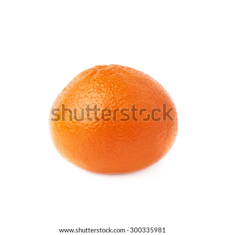 Fresh juicy tangerine ripe fruit isolated over the white background - stock photo