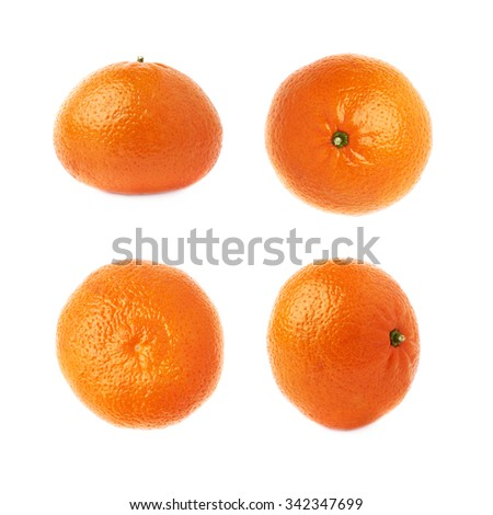 Fresh juicy tangerines ripe fruits isolated over the white background set - stock photo