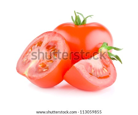 Fresh Juicy tomato cut in half Isolated on white background - stock photo