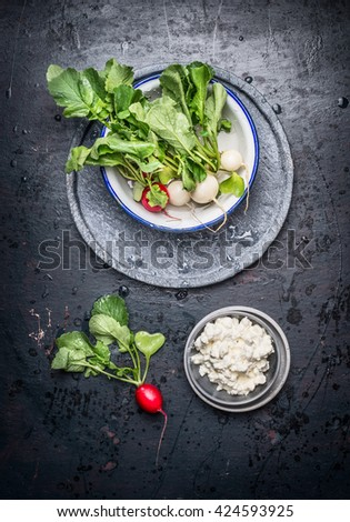 Fresh juicy white and red radishes with leaves and grain fresh cheese on dark rustic background , top view - stock photo