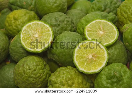 Fresh kaffir lime fruit ,herbal and seasoning  - stock photo