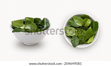 Fresh kaffir lime leaf in a bowl