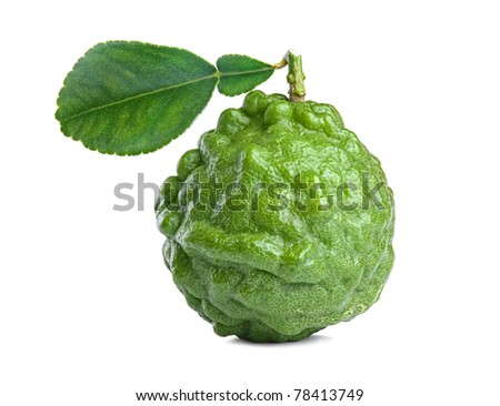 Fresh kaffir lime with leaf isolated on white background - stock photo