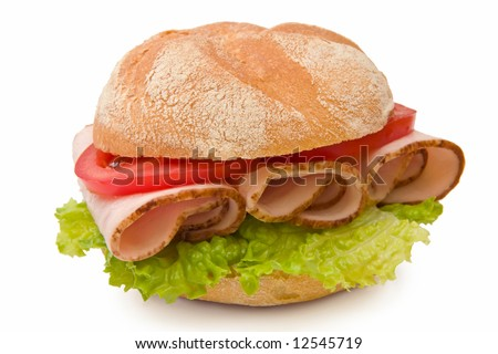Fresh kaiser roll sandwich with roasted turkey breast, lettuce and tomatoes on white background - stock photo