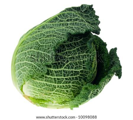 fresh kale isolated on a white background - stock photo