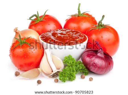 Fresh ketchup and a set of vegetables: tomatoes, onions, garlic and parsley isolated on white background - stock photo