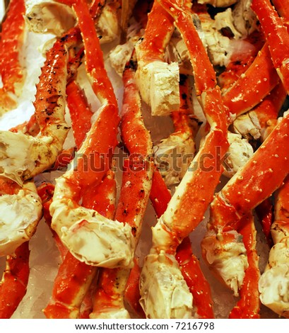 Fresh King Crab Legs on ice - stock photo