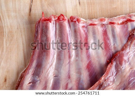 Fresh lamb chops, nutrition is rich, close-up - stock photo