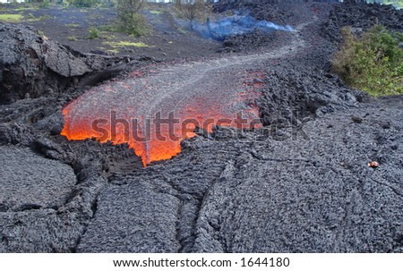 fresh lava flow from a volcano - stock photo