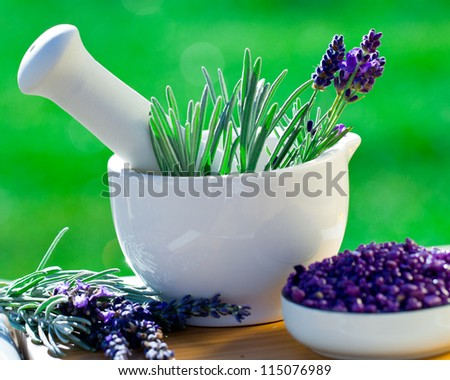 Fresh lavender herbs in the mortar - alternative medicine, healthy cosmetics concept - stock photo