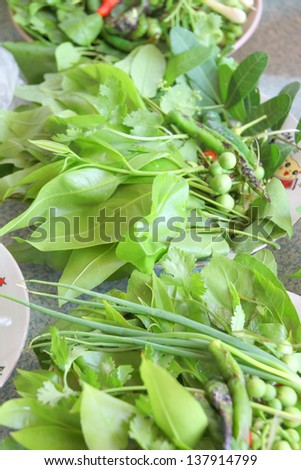 Fresh leaves of vegetables for side dishes of Thai food