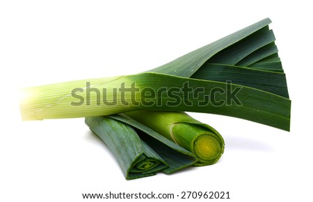 Fresh Leek and slided isolated on white background